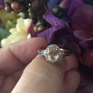 .925 RG dipped morganite/diamond accent ring
